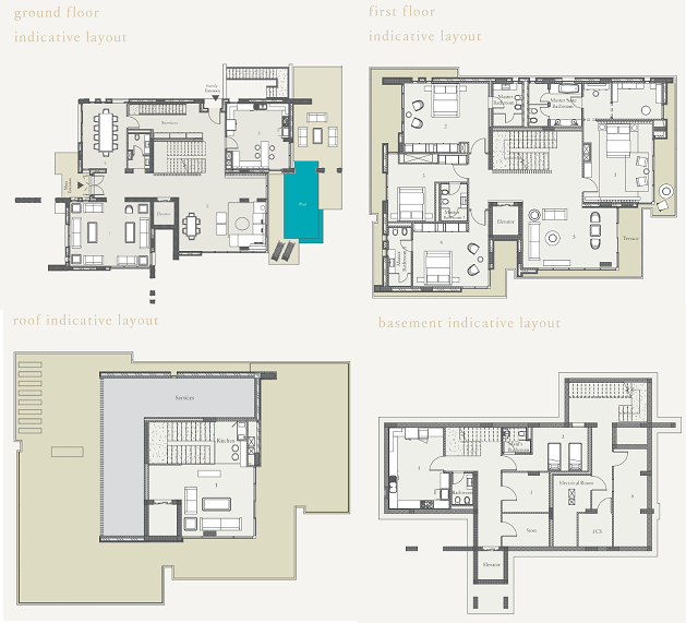 Planning of the apartment Villas 4BR, 9203.14 in Nudra, Abu Dhabi