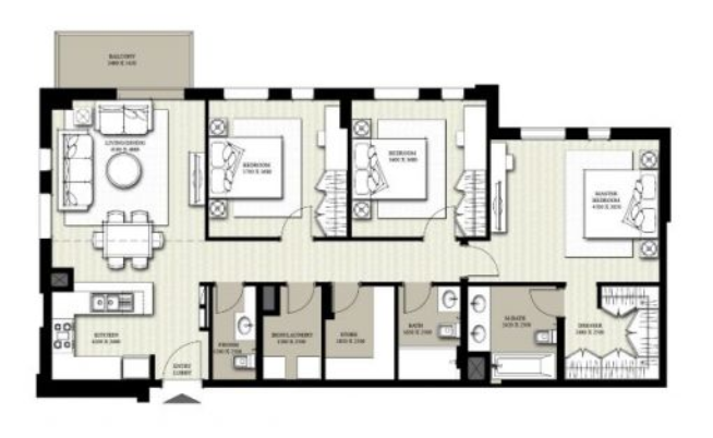 Planning of the apartment 3BR, 1356.36 in Hayat Boulevard, Dubai