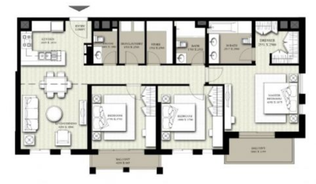 Planning of the apartment 3BR, 1416.96 in Hayat Boulevard, Dubai