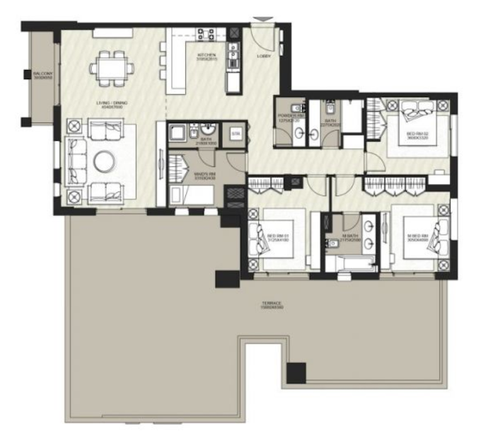 Planning of the apartment 3BR, 2645.88 in Hayat Boulevard, Dubai