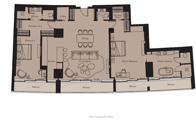 Planning of the apartment 2BR, 1869 in The Royal Atlantis Resort & Residences, Dubai