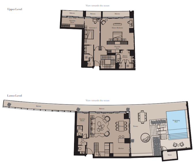 Planning of the apartment 2BR, 2557 in The Royal Atlantis Resort & Residences, Dubai