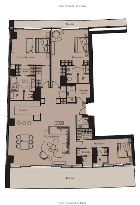 Planning of the apartment 3BR, 2597 in The Royal Atlantis Resort & Residences, Dubai