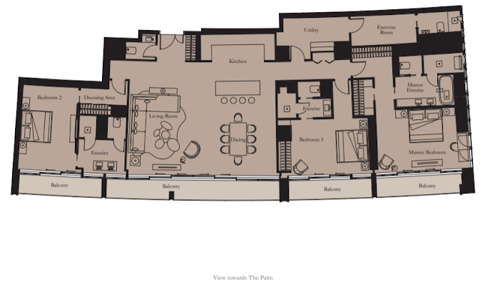 Planning of the apartment 3BR, 2808 in The Royal Atlantis Resort & Residences, Dubai