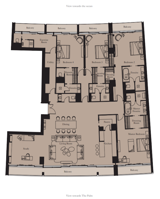 Planning of the apartment 4BR, 4066 in The Royal Atlantis Resort & Residences, Dubai