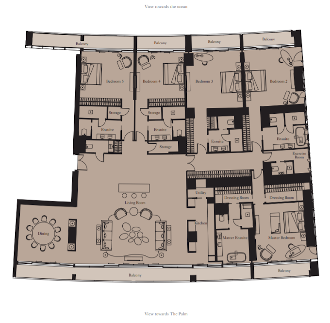 Planning of the apartment 5BR, 5428 in The Royal Atlantis Resort & Residences, Dubai