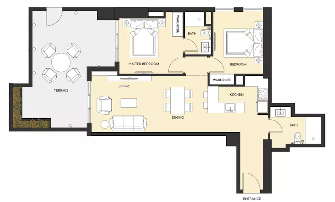 Planning of the apartment 2BR, 1152 in Studio One Apartments, Dubai