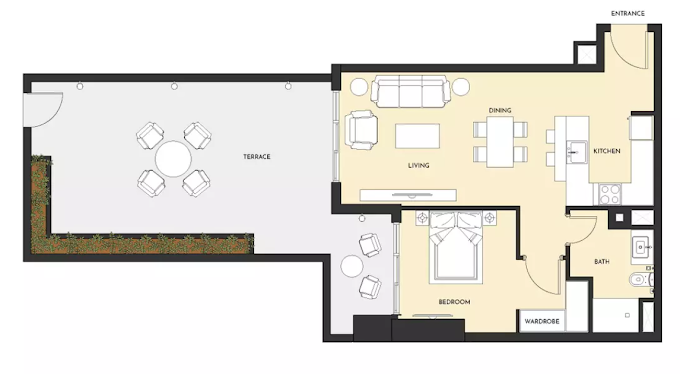 Planning of the apartment 1BR, 1054 in Studio One Apartments, Dubai