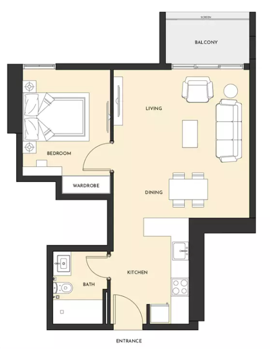 Planning of the apartment 1BR, 659 in Studio One Apartments, Dubai