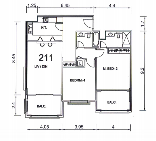 Planning of the apartment 3BR, 1301 in Ansam, Abu Dhabi