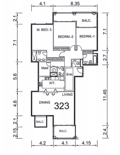 Planning of the apartment 3BR, 2235 in Ansam, Abu Dhabi