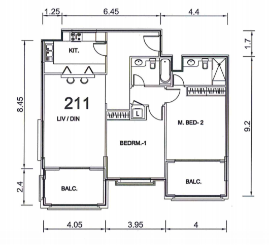 Planning of the apartment 2BR, 1301 in Ansam, Abu Dhabi