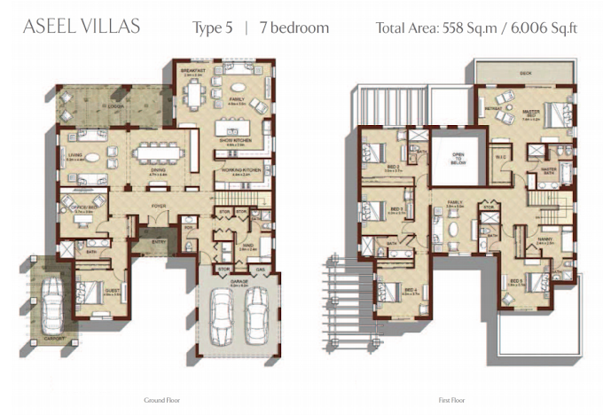 Planning of the apartment 7BR, 6006 in Aseel Villas, Dubai