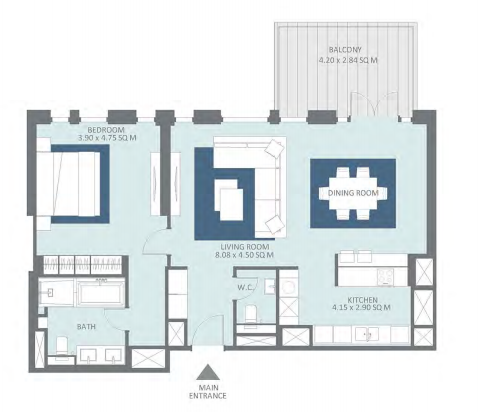 Planning of the apartment 1BR, 1090 in Bluewaters Residences, Dubai
