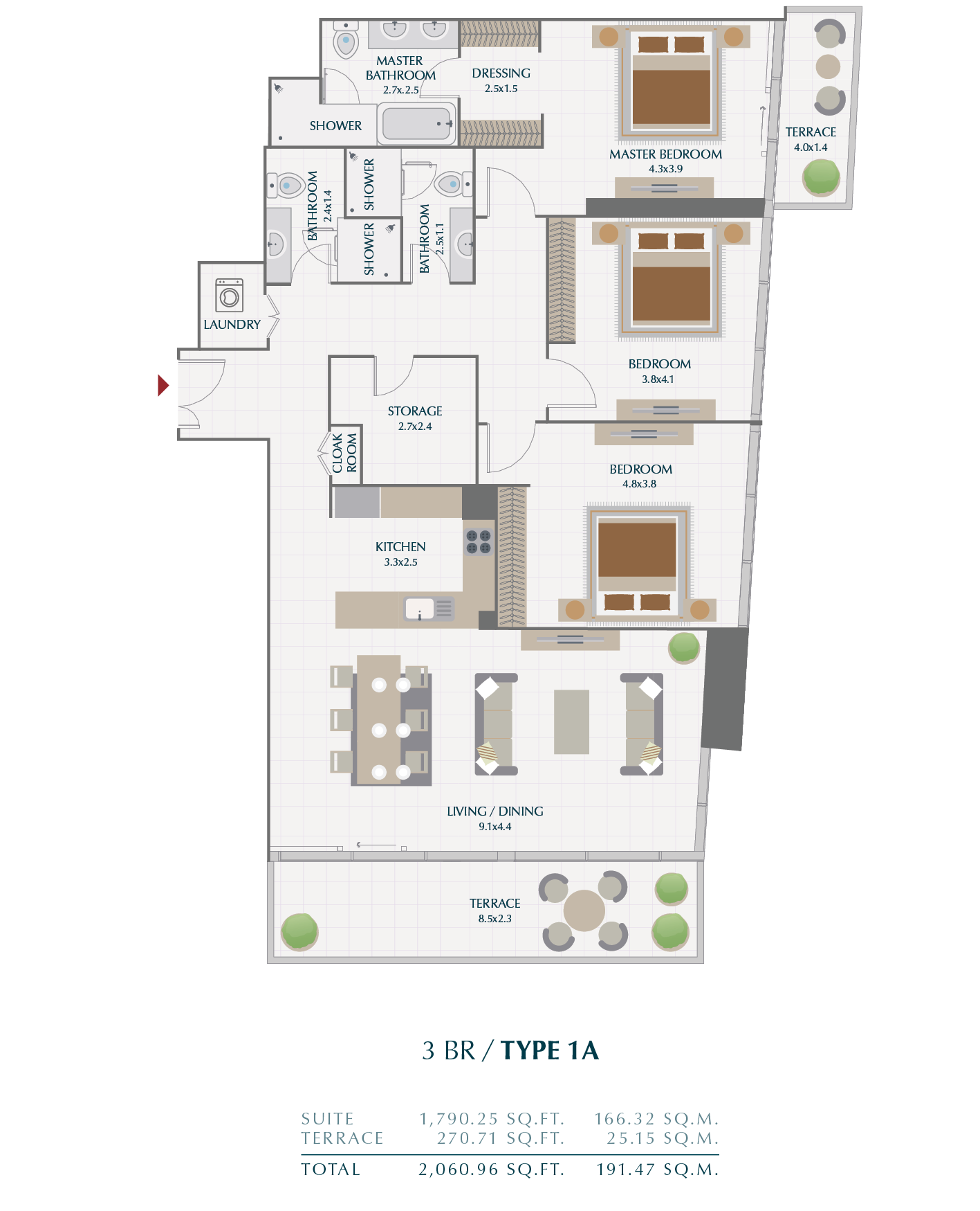 Planning of the apartment 3BR, 191.47 in Wasl1 Park Gate Residences, Dubai