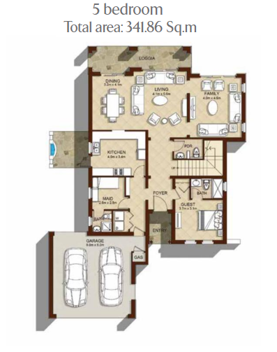 Planning of the apartment 5BR, 3679 in Aseel Villas, Dubai