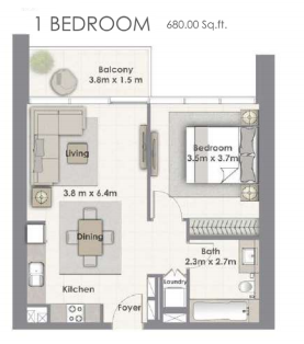 Planning of the apartment 1BR, 680 in Creekside 18, Dubai