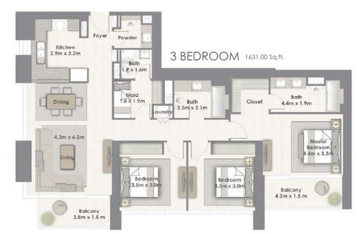 Planning of the apartment 3BR, 1631 in Creekside 18, Dubai