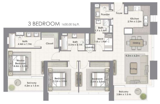 Planning of the apartment 3BR, 1630 in Creekside 18, Dubai