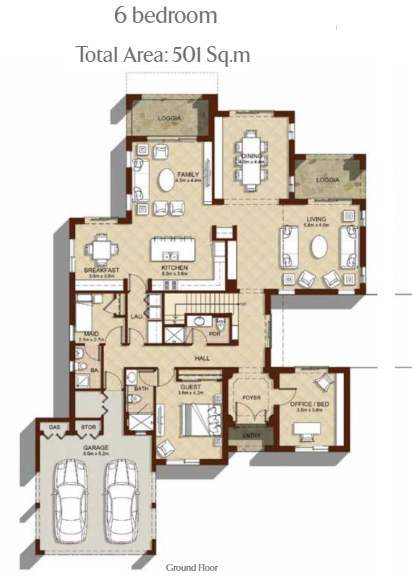 Planning of the apartment 6BR, 5393 in Aseel Villas, Dubai