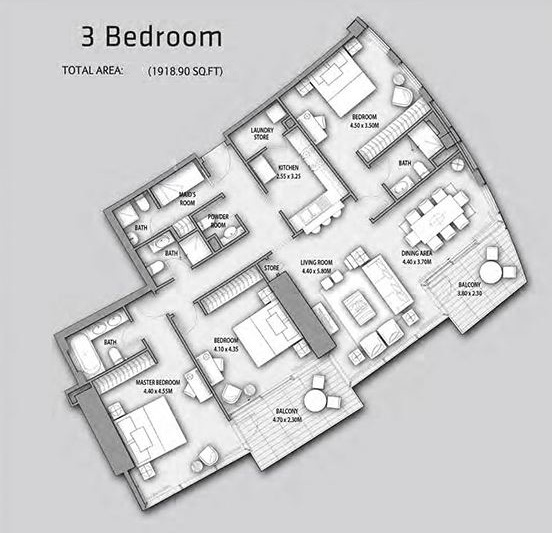 Planning of the apartment 3BR, 1918.9 in Burj Vista Apartments, Dubai