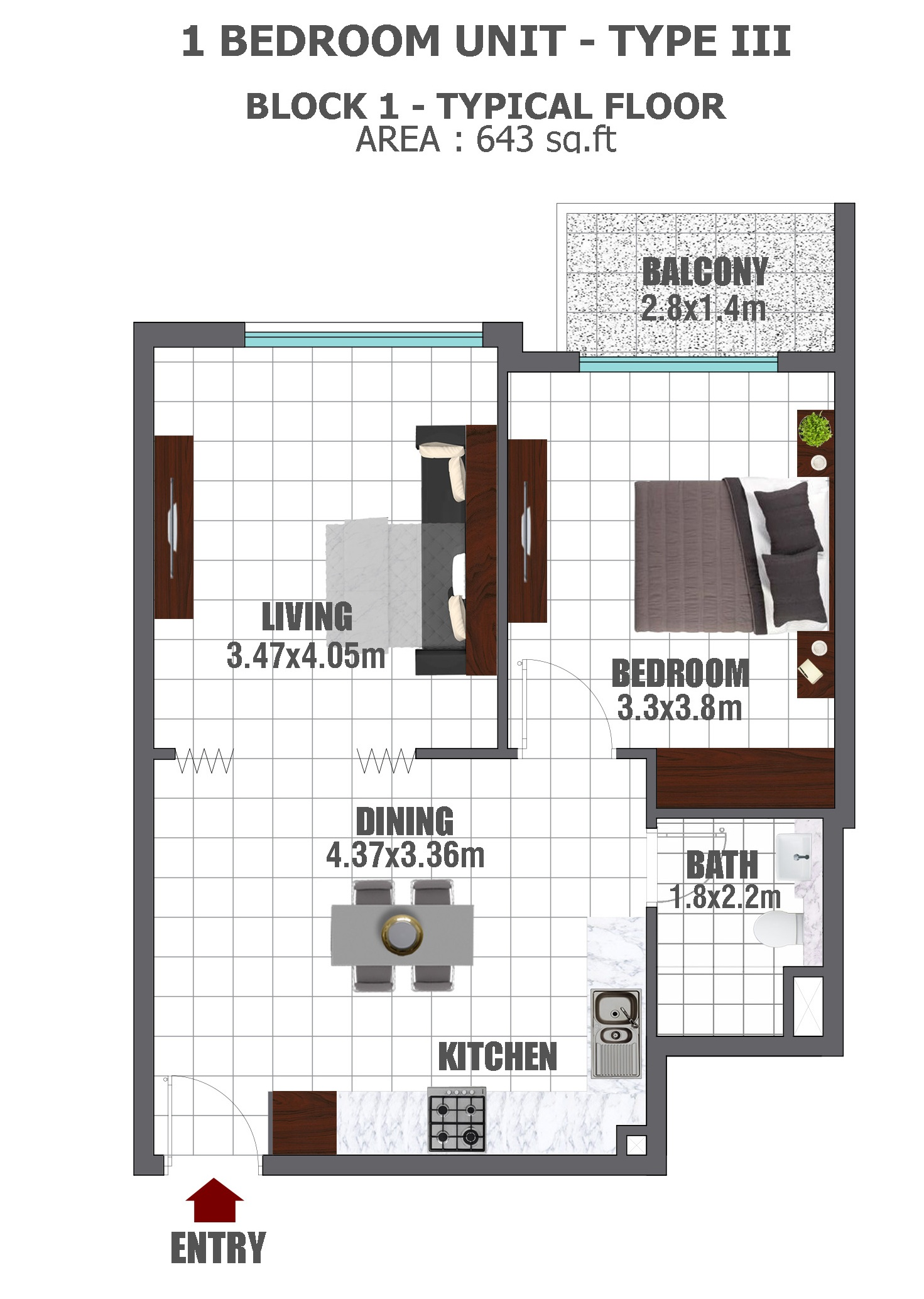 Planning of the apartment 1BR, 643 in Lawnz, Dubai