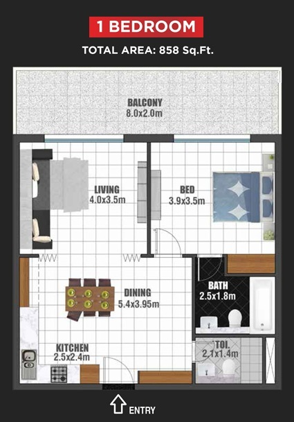 Planning of the apartment 1BR, 858 in Jewelz Apartments, Dubai