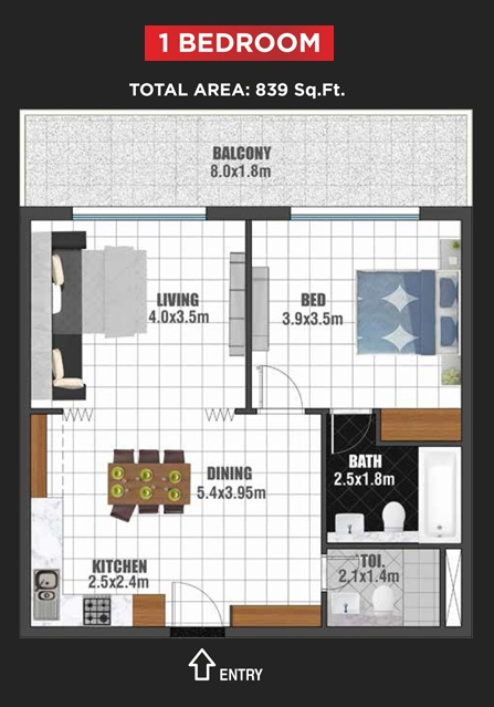 Planning of the apartment 1BR, 839 in Jewelz Apartments, Dubai
