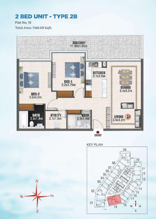 Planning of the apartment 2BR, 1148 in Bayz, Dubai