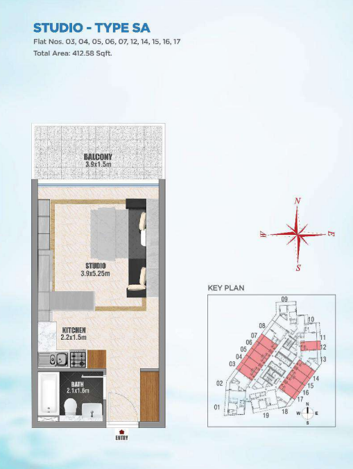 Planning of the apartment Studios, 412.58 in Bayz, Dubai