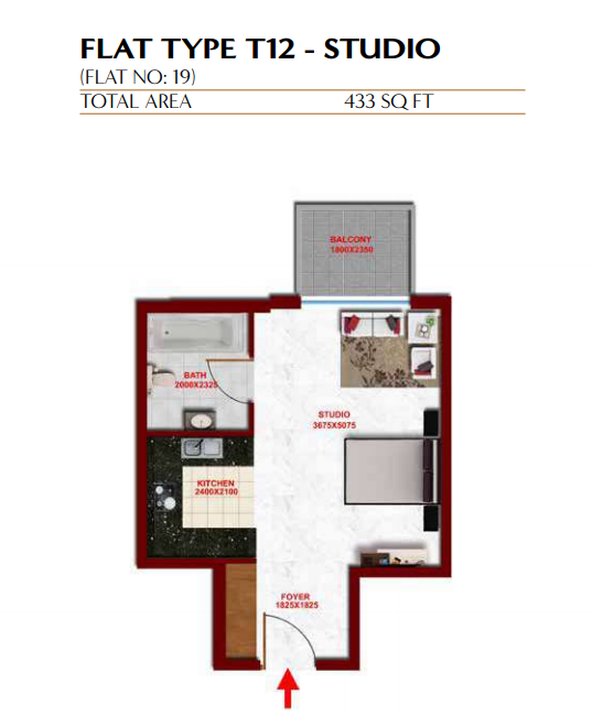 Planning of the apartment Studios, 433 in Glitz Residence 3, Dubai