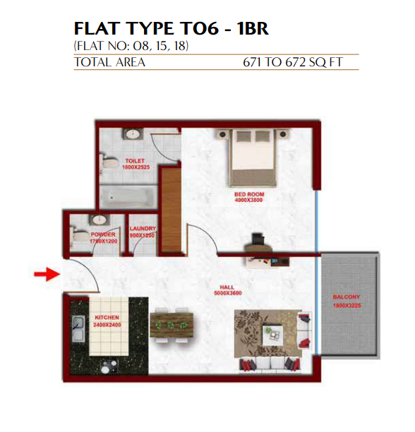 Planning of the apartment 1BR, 671 in Glitz Residence 3, Dubai