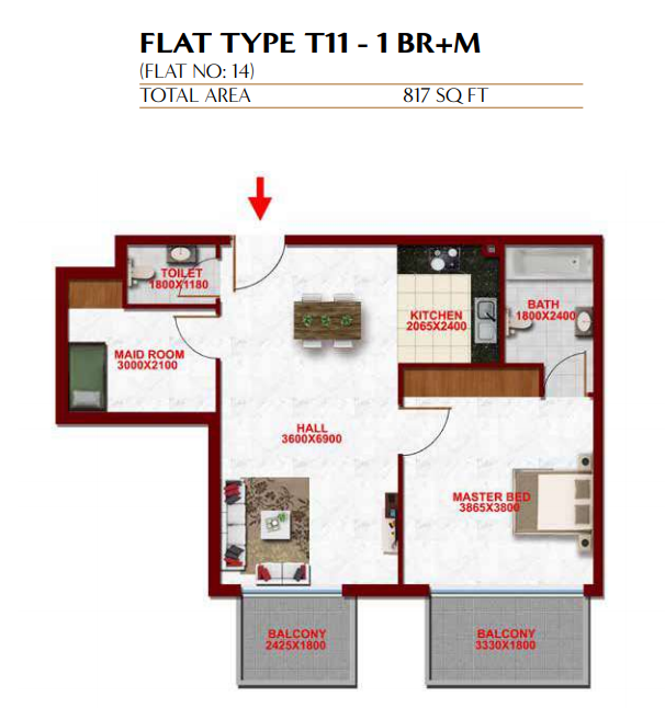 Planning of the apartment 1BR, 817 in Glitz Residence 3, Dubai