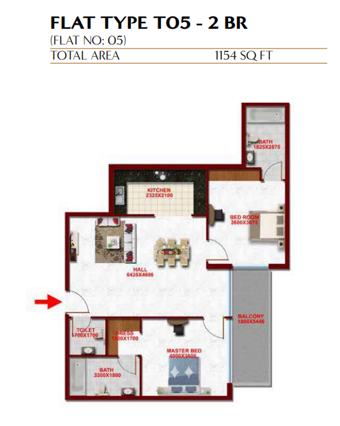 Planning of the apartment 2BR, 1154 in Glitz Residence 3, Dubai