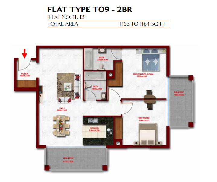 Planning of the apartment 2BR, 1163 in Glitz Residence 3, Dubai