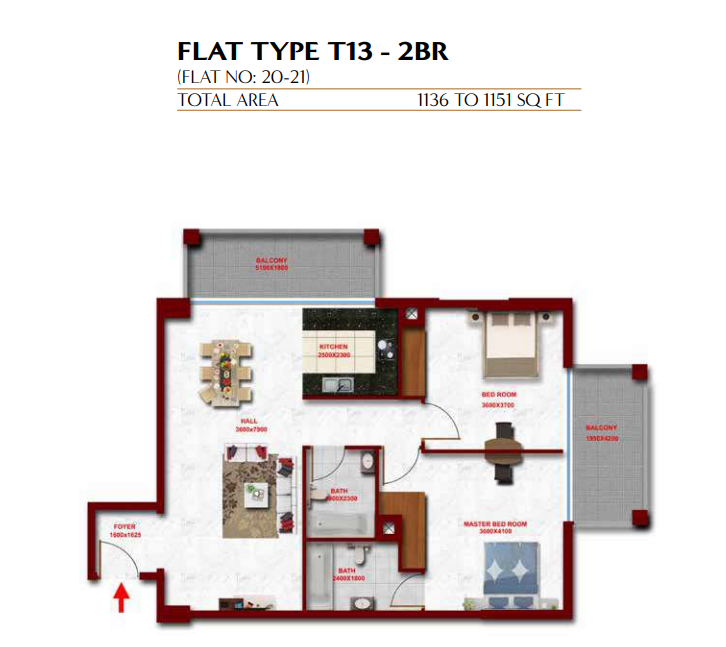 Planning of the apartment 2BR, 1136 in Glitz Residence 3, Dubai