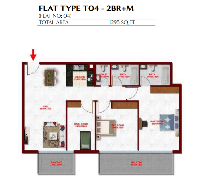 Planning of the apartment 2BR, 1295 in Glitz Residence 3, Dubai