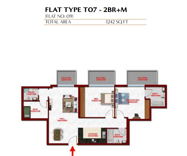 Planning of the apartment 2BR, 1242 in Glitz Residence 3, Dubai