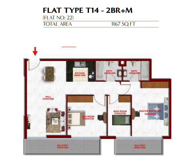 Planning of the apartment 2BR, 1167 in Glitz Residence 3, Dubai