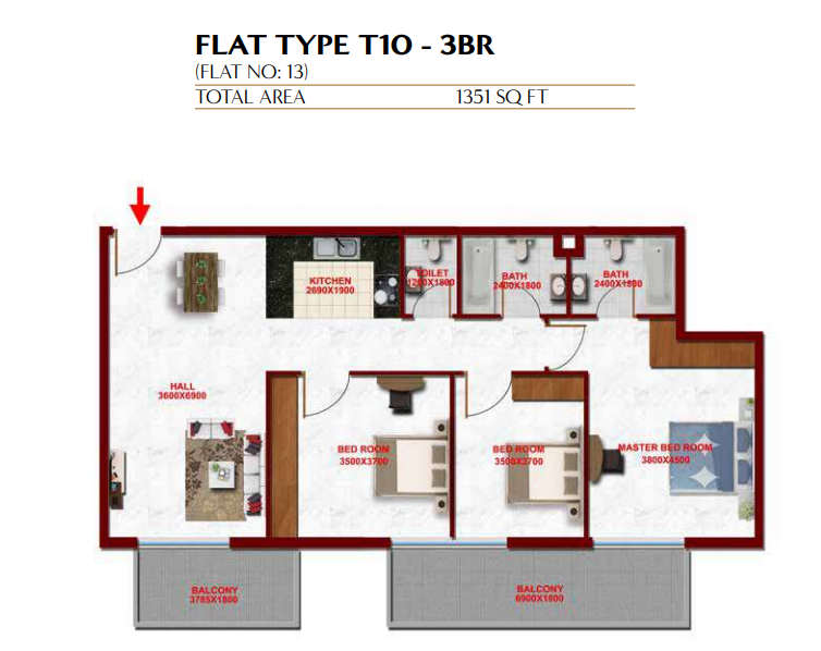 Planning of the apartment 3BR, 1351 in Glitz Residence 3, Dubai