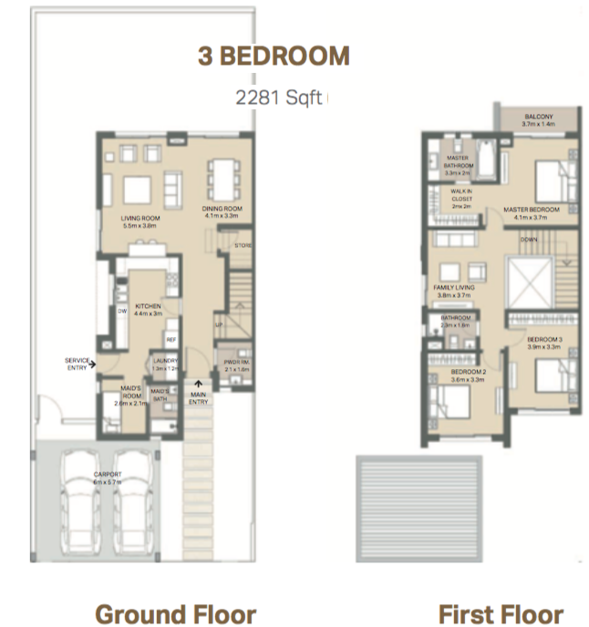 Planning of the apartment 3BR, 2281 in Arabella 3 at Mudon, Dubai