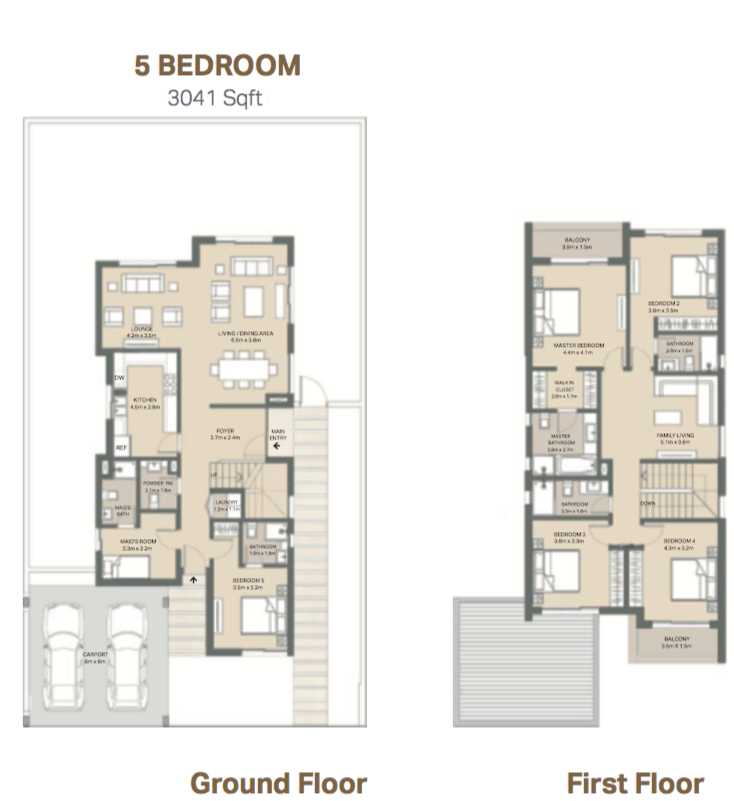 Planning of the apartment 5BR, 3041 in Arabella 3 at Mudon, Dubai