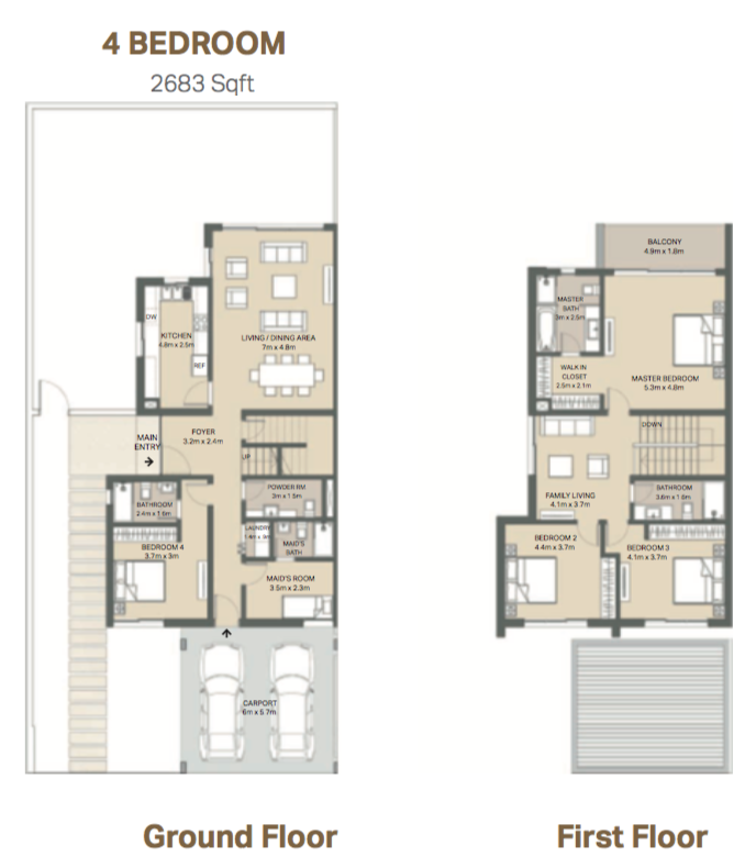 Planning of the apartment 4BR, 2683 in Arabella 3 at Mudon, Dubai