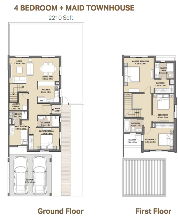 Planning of the apartment 4BR, 2210 in Arabella 3 at Mudon, Dubai