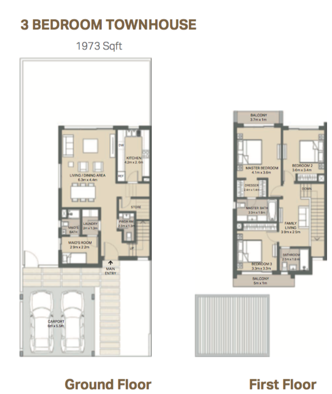 Planning of the apartment 3BR, 1973 in Arabella 3 at Mudon, Dubai