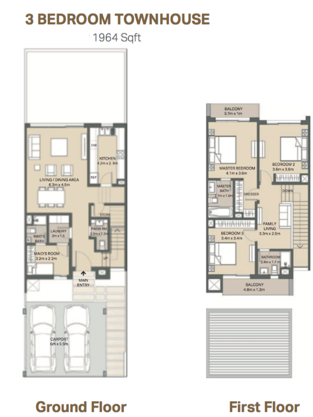 Planning of the apartment 3BR, 1964 in Arabella 3 at Mudon, Dubai