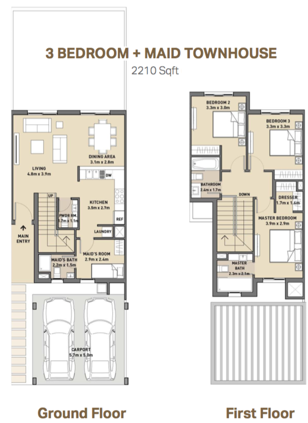 Planning of the apartment 3BR, 2210 in Arabella 3 at Mudon, Dubai