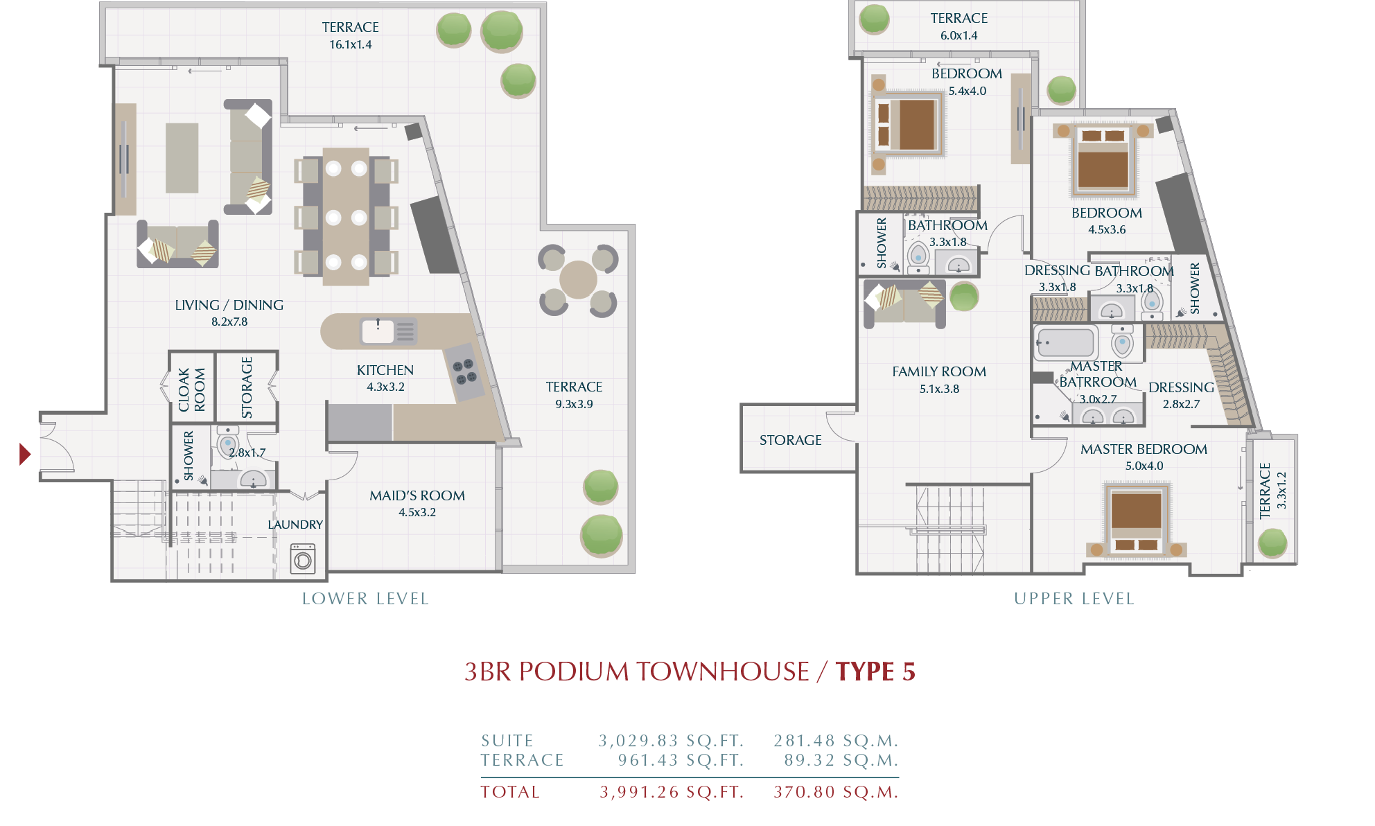 Planning of the apartment Townhouses, 370.8 in Wasl1 Park Gate Residences, Dubai