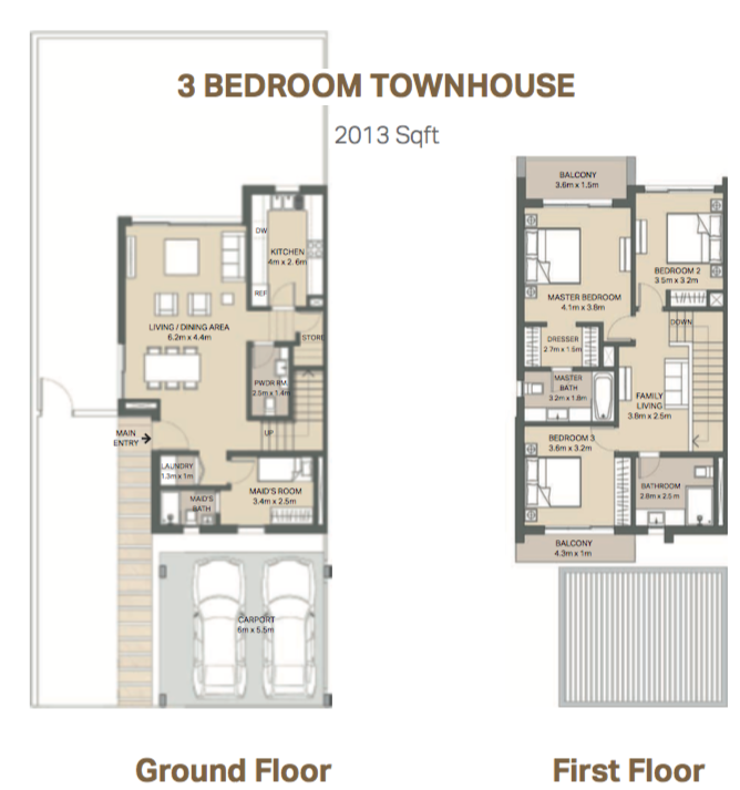 Planning of the apartment 3BR, 2013 in Arabella 3 at Mudon, Dubai
