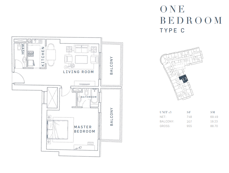 Planning of the apartment 1BR, 955 in AG Tower Business Bay, Dubai